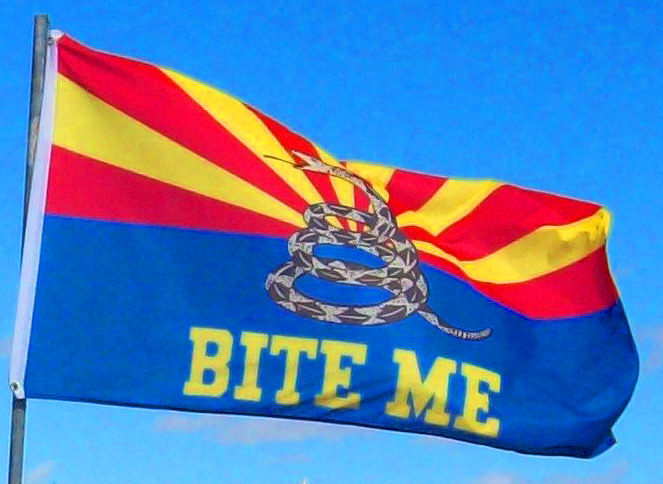 arizona bite me flag AZ gadsden dont tread on me flag Arizona Bite Me Battle/Rally Flag